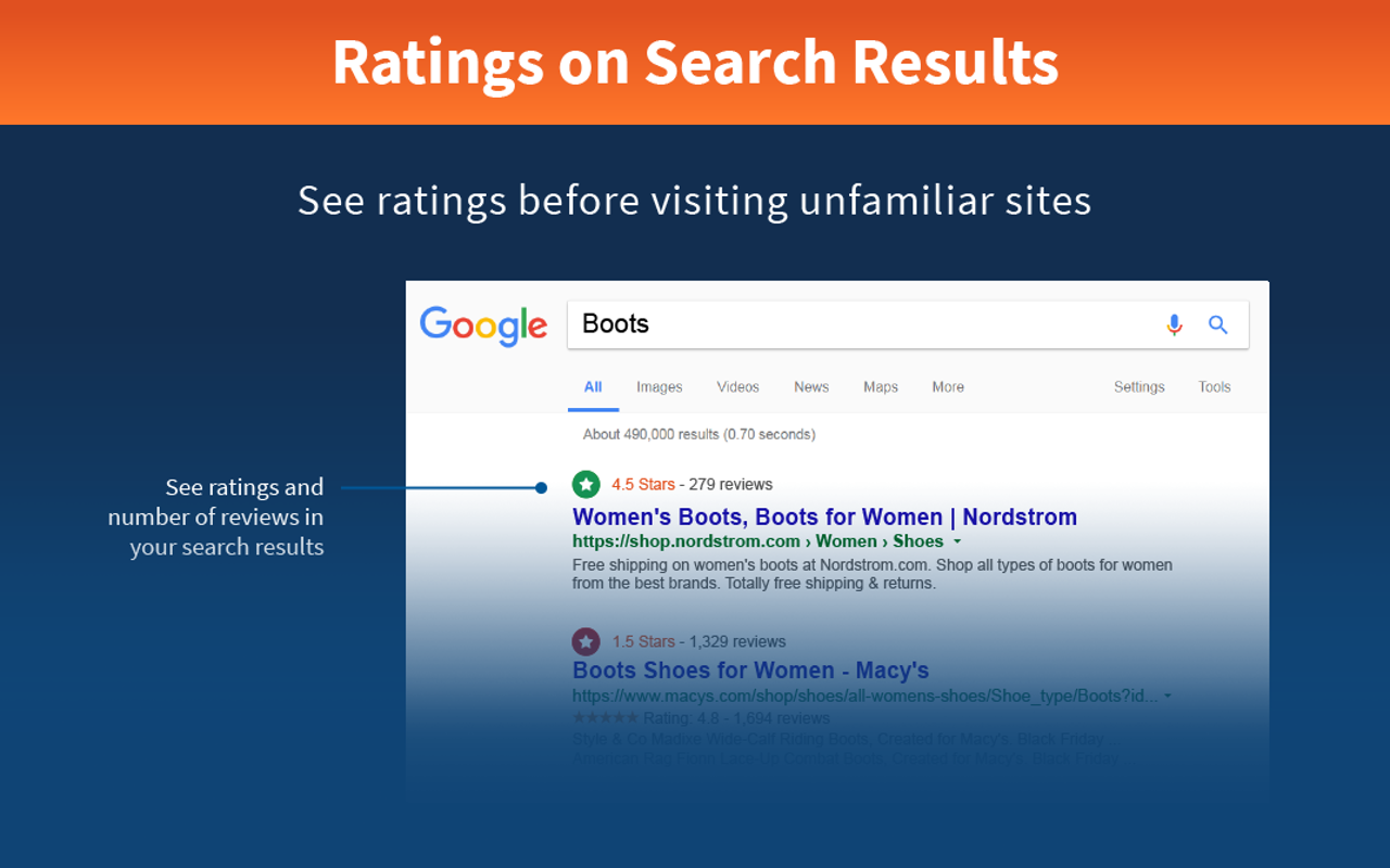 Ratings on search results