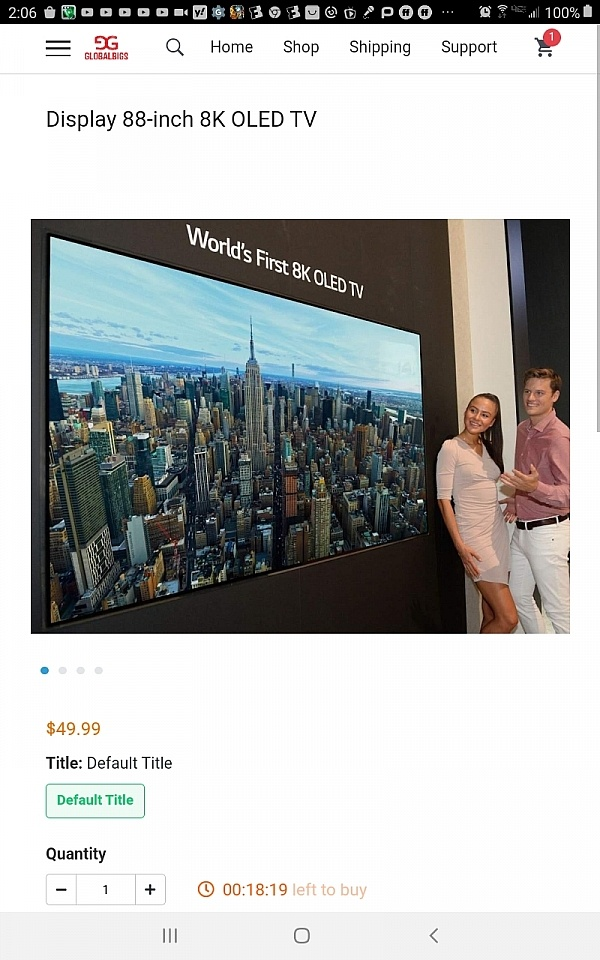 An 88 inch TV for $49.99 free shipping