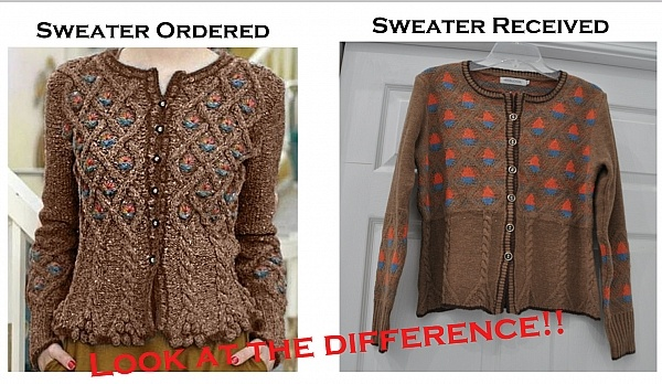 Sweater as pictured and what I received!
