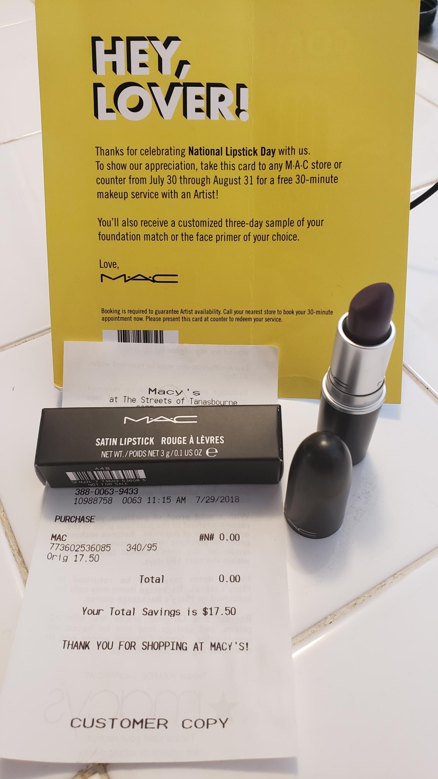 Return Policy Mac Cosmetics No Receipt