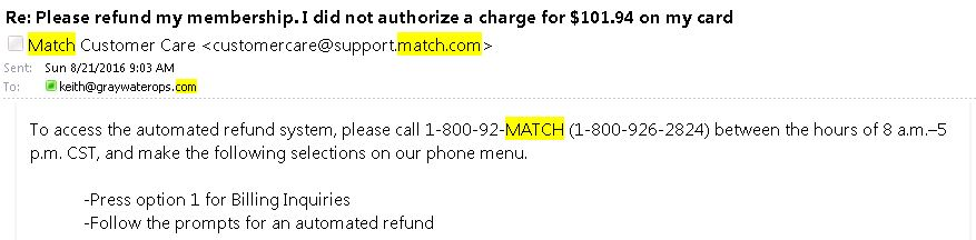 Match com customer service 800 number