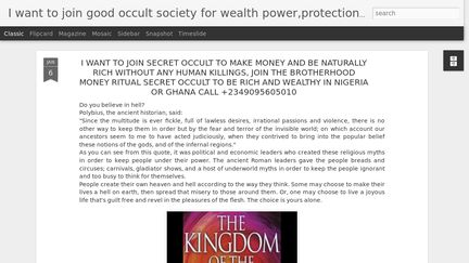 I Want To Join Occult To Be Rich